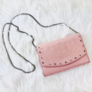 Juicy Couture Pink Wallet Clutch w a Heart Chain